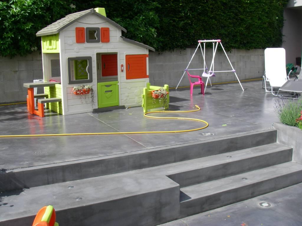 Aménagement de terrasse en béton préfab